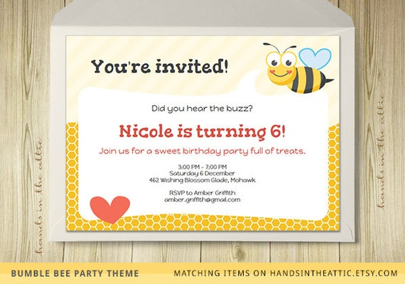 bumble bee party invitation template editable by