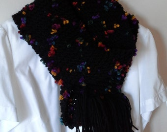 Knitted Scarf, Black Handknit Scarf, Wool  Hand Knit ScarfBlack Flower Neck Warmer,Wool Knitted Scarf