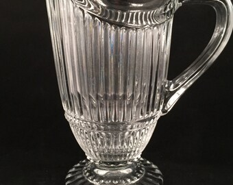 Vintage Clear Glass Ribbed Pitcher