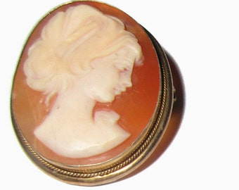 Cameo Brooch, Edwardian Pin, Carved Shell,  Gold Tone Bezel, Edwardian Lady ,Upswept Hair, Circa 1910, Marked 800 Coin Silver
