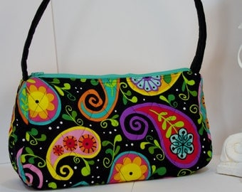 Paisley Purse Paisley Satchel top handle paisley quilted shoulder bag paisley tote (in black paisley 001)