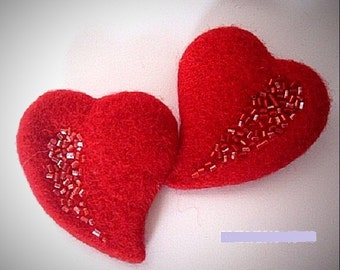 Elegant brooch  Felt brooch  Heart brooch   Red brooch  Show your love Gift for her  Embroidery with beads, Wool, Handmade