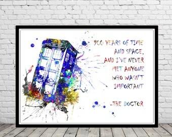 Tardis  Dr Who,  Dr Who, Dr Who quote, Tardis, Time lord, watercolor print, Kids Room Decor, Poster, wall art, print (810b)