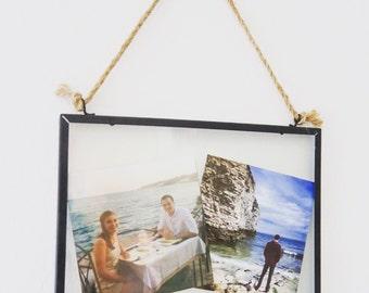 Glass hanging photo frame