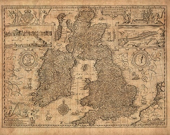 Map of The Kingdom of Great Britain and Ireland, 1676.  Vintage restoration hardware home Deco Style old wall reproduction map print.