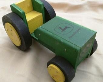 VINTAGE Handmade John Deere Toy Tractor