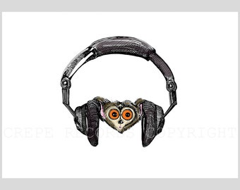 Night Monkey with headphones Art Print