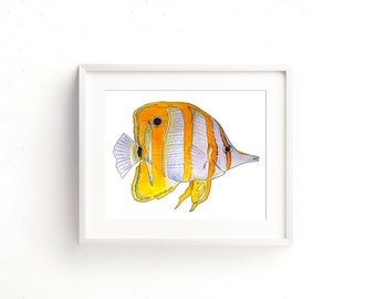 Copperband Butterfly Fish Watercolor Fine Art Print