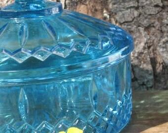 "Vintage Indiana Glass Co. ""Princess"" Design Lidded Candy Dish / Aqua Blue Glass Candy Dish"