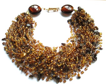 Tiger eye airy beaded necklace – brown gold seed bead necklace with tiger eye stone – air multi strand golden brown beaded necklace