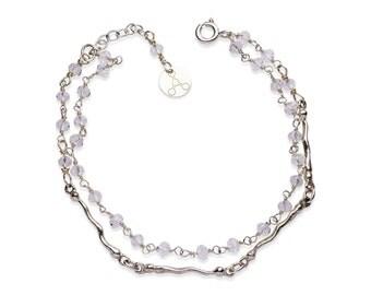 Silver bracelet with cubic zirconia stones