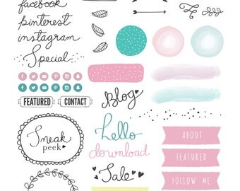 Blogging and Website design Kit. Deluxe Edition. Photoshop Template High Res/web size color customizable - INSTANT DOWNLOAD