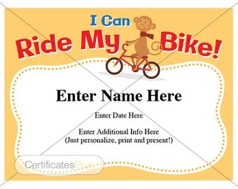 biking certificate, Kids certificate, I can ride my bike, bike certificate, biking award, kid's gift, child certificate, bicycle, bike lover