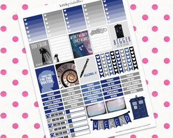 Doctor Who Themed Set || Printable Planner Stickers || Instant Digital Download