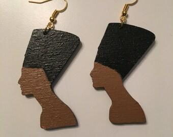 Nefertiti wood cutout drop earrings