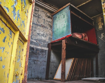 Carny Series 2 of 4: Sideshow Magic Box - Abandoned Vintage Carnival Trailer, Old Sideshow Fine Art Photograph, Wall Decor, Fine Art Print