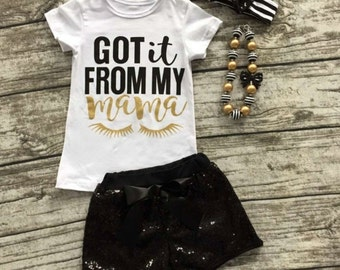 Girls I got it from My mama outfit includes necklace and headband