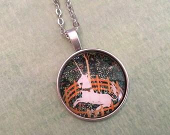 Unicorn Glass Pendant Necklace