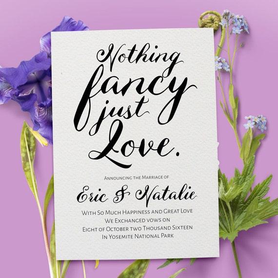 Elopement Announcement Card Wedding Announcements: Elopement Announcement Card Nothing Fancy Just Love