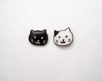 Cat Earrings, Black, White, Cute Black Cat Studs, Kitty Earrings