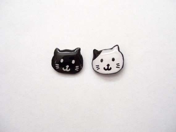 Cat Earrings Black White Cute Black Cat Studs Kitty