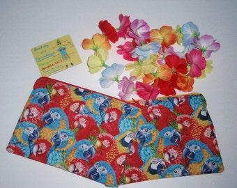 Parrothead / parrots / makeup bags / zippered pouches / bags....FREE SHIPPING