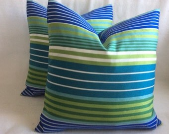 Striped Designer Pillow Covers - Green/ Blue/ White - 2pc Set - 18x18 Covers