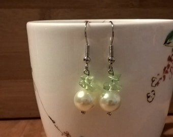 Green and Pearl Earrings