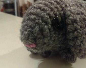 Gray Crochet Lop Ear Bunny - Cute!