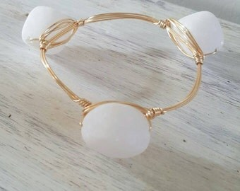 Large White Stone Wire Wrapped Bangle