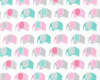 Elephant fabric by Robert Kaufman, Urban Zoology Minis, Pink, 100% Cotton, UK Sales Onl