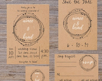 Rustic wedding invitation, Casual wedding invitation, DIGITAL DOWNLOAD, invitation kit