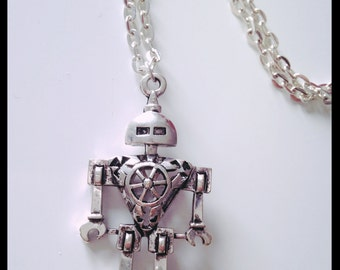 Silver Robot Necklace with a 925 sterling silver chain
