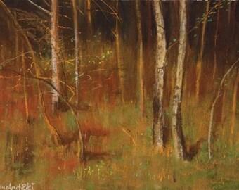 Aspen meadow: Soft pastel painting