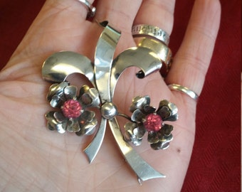 """Vintage Harry Iskin Sterling Silver and Pink Rhinestone Brooch/ Pin 1940""""s"""