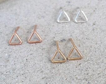 Triangle earrings, Geometric Earrings, Geometric studs, gold stud earrings, gold post earrings, tiny gold studs