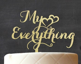 My Everything Wedding Cake Topper, Personalized Wooden Cake Topper, Rustic Topper, Custom Name Wood Cake Topper, Cake Decoration CATO-W74