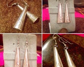 "Vintage Sterling Silver Native American Etched Design Dangle Earrings / 2.25"" drop earrings /handmade jewelry"