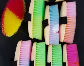 New *PERSONALIZED* NEON horse brush with hand strap for Barn stable neon colors Horse Lover Gift