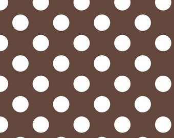 Brown and White Medium Dots by Riley Blake Designs - Chocolate Polka Dots - Cotton Woven Quilt Fabric - choose your cut