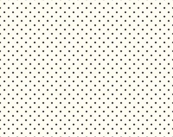 Black Swiss Dots on Cream Le Creme by Riley Blake Designs - Polka Dot - Quilting Cotton Fabric - by the yard fat quarter half