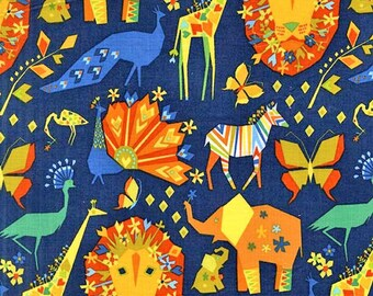 Origami Oasis Pride Navy by Michael Miller - Blue Jungle Lion Elephant Orange Animal - Quilting Cotton Fabric - by the yard fat half quarter