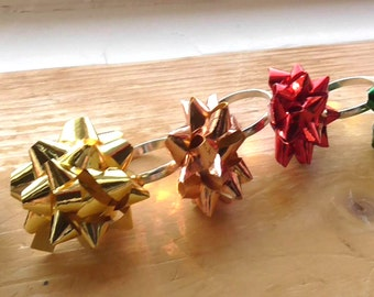 Holiday Ring - Christmas Ring - Festive Ring - Gift Rosette  Ring - Adjustable