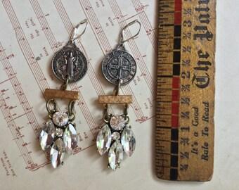 Rhinestone religious relic earrings- unique vintage assemblage earrings