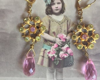 Pretty in pink - unique vintage assemblage earrings