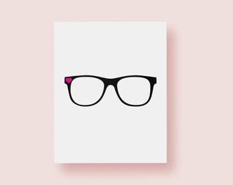8x10 Art Print | Eyeglasses | Office Decor | 5x7 Print | Bookworm | Geek