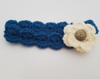 3-6 Month Sapphire Headband with Cream Flower