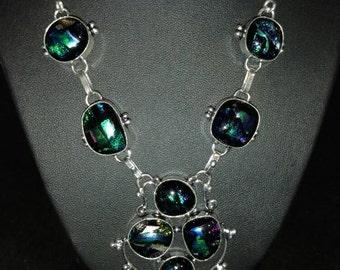 Dichroic Glass Bib Necklace