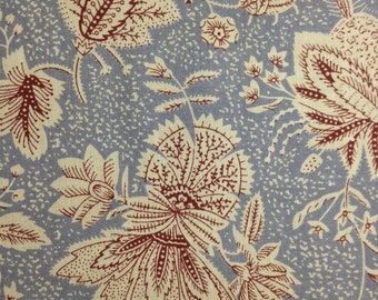 Rust and Cream Flowers on Slate Blue Background, 100% Cotton