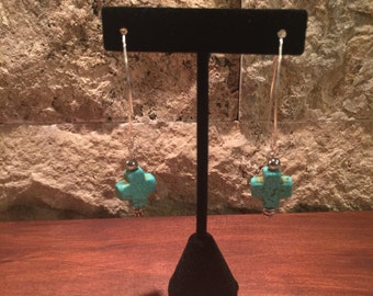 Silver earrings with turquoise crosses